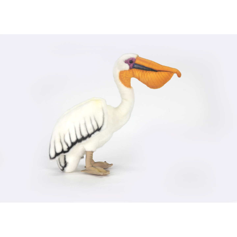 Witte pelikaan knuffel met kraalogen