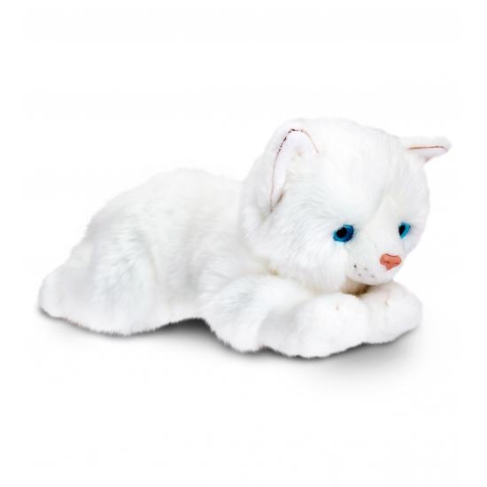 Witte poes knuffeldier 30 cm