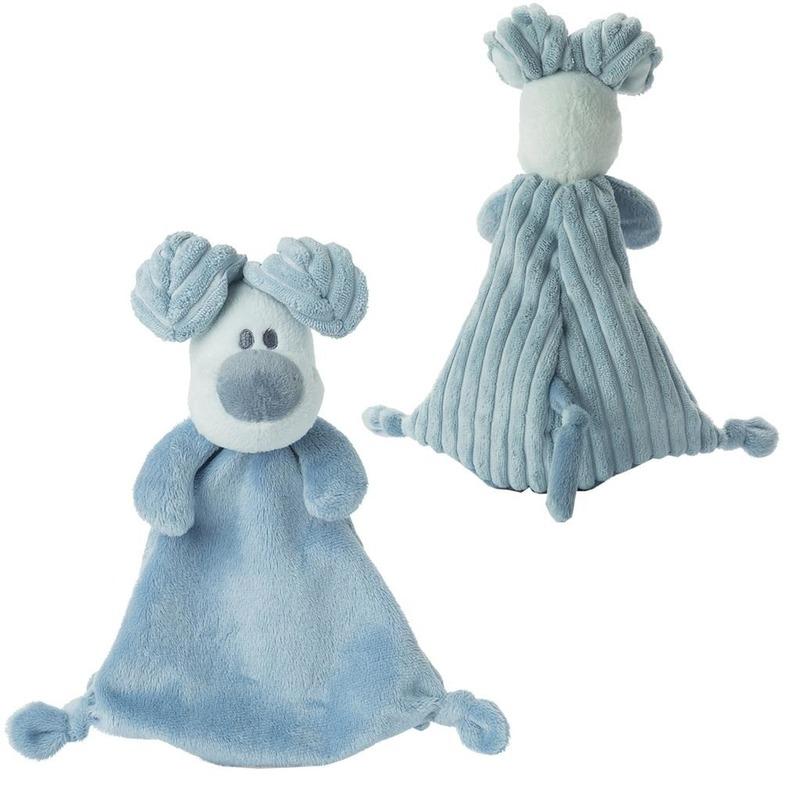 Woezel en Pip knuffeldoekje/tutteldoekje blauw Woezel 30 cm