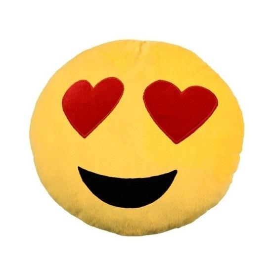 Woondecoratie kussen verliefde emoticons 30 cm