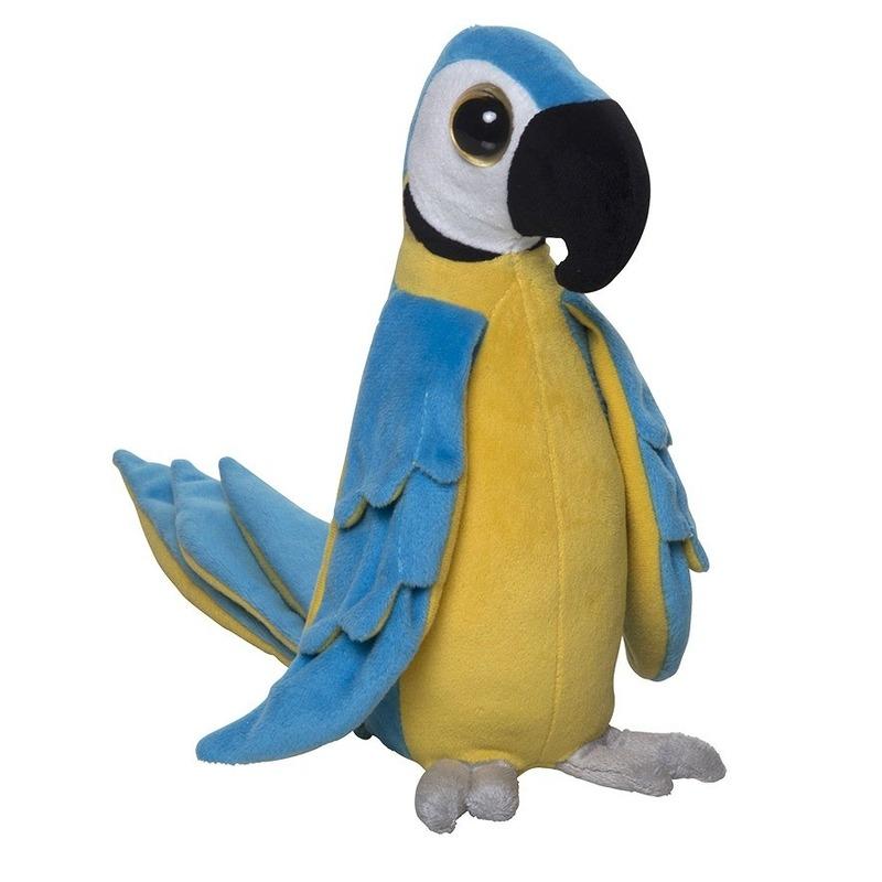Zachte pluche papegaai knuffel blauw 25 cm