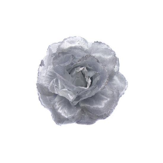 Hawaii feestartikelen Zilveren glitter bloem met elastiek