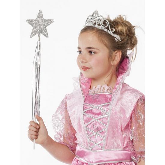 Feest hoeden Geen Zilveren prinses tiara met glitters