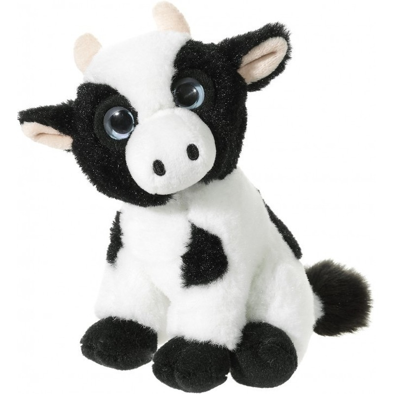 Zwart met witte pluche koeien knuffeltje 14 cm