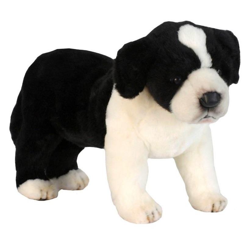 Zwart witte pluche Border Collie pup 39 cm