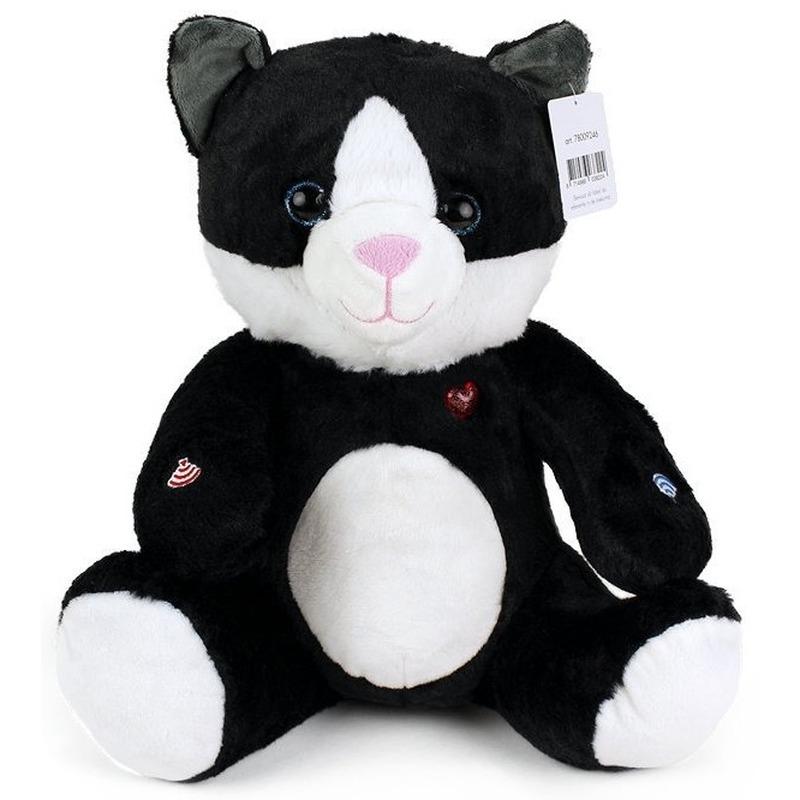 Zwarte pluche kat/poes knuffel 30 cm